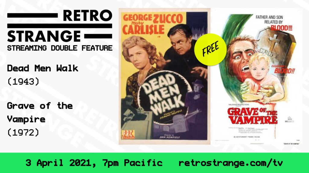 A teaser poster for the next episode. The RetroStrange logo is in the top left, beneath this the movies are listed. The right side of the image features posters for the movies.